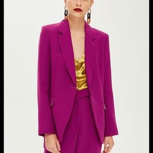 TOPSHOP Boutique Deep Purple Blazer Lined Size 8